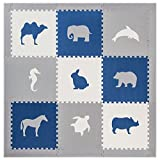 Foam Floors Extra Large Soft Mat for Babies and Kids, Safe Thick Non-Toxic Cute Pastel Animals (Blue with Grey Border)