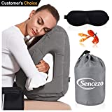 Sencezo Inflatable Travel Pillow Sleep Aid Eye Mask, Earplugs, Carry Pouch - Airplane Pillow Long-Haul Flights & Road Trips – Fast Inflate/Deflate, Compact, Fully Supportive Accessories