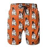 Mens Funny Bulldog With Hat Quick-Dry Lightweight Fashion Board Shorts Swim Trunks M