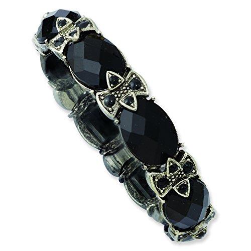 1928 Jewelry Silver-Tone Black Crystal & Enamel Stretch Bracelet ()