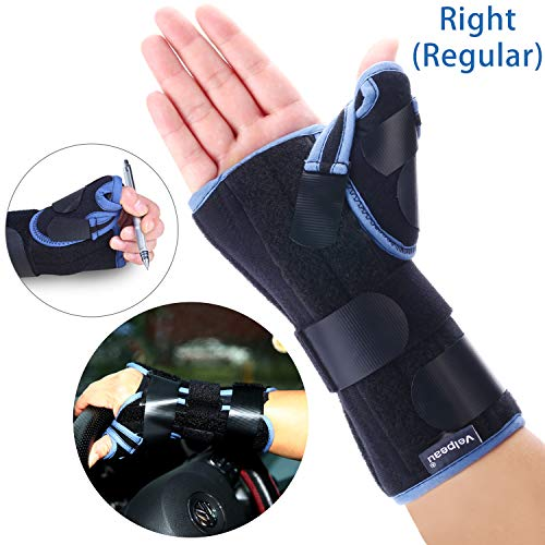 Wrist Fracture Splint - Velpeau Wrist Brace with Thumb Spica Splint Support for De Quervain's, Scaphoid Fracture, Sprain or Muscle Strain, Carpal Tunnel Relief, Injury Recovery for Men & Women (Regular, Right Hand - Medium)