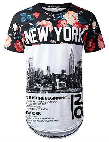 1c35909e406 URBANTOPS Mens Hipster Hip Hop City Graphic Longline T-Shirt (Various  Styles)