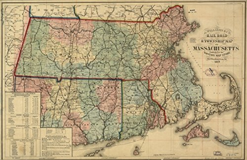 Map: 1879 Rail road & township of Massachusetts, published at the Boston Store, 1879. County and township showing drainage, cities and towns, distances between post stations, post routes, and the - Road Post Stores Boston