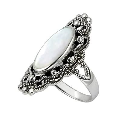 Chuvora 925 Sterling Silver 30 mm Filigree Genuine Marcasite and Natural Mother of Pearl Ring