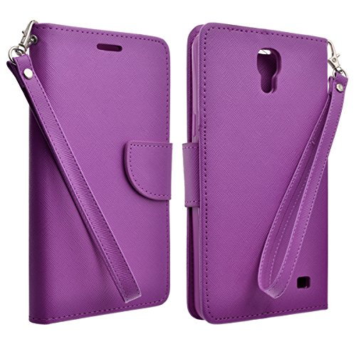 AT&T Samsung Galaxy Mega 2 Case - PU Leather Wallet Cover With 2 Credit Card Slot (PURPLE - Cases Mega Galaxy Att Samsung
