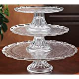 1, 2, or 3 tiers Stackable Glass Scalloped Edge Cake or Cupcake Stand or Individual Cake Plates