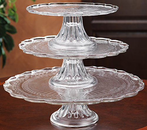 Scalloped Cake Plate (1, 2, or 3 tiers Stackable Glass Scalloped Edge Cake or Cupcake Stand or Individual Cake)