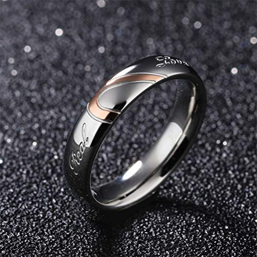 YouCY Wedding Rings for His and Her Matching Set Heart Always Engraved Titanium steel Puzzle Heart Couple Ring,Female size 6