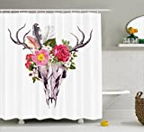 Ambesonne Antler Decor Shower Curtain by, Deer Animal Skull with Flowers and Feathers Vintage Style Watercolor Artwork, Fabric Bathroom Decor Set with Hooks, 75 Inches Long, Multicolor