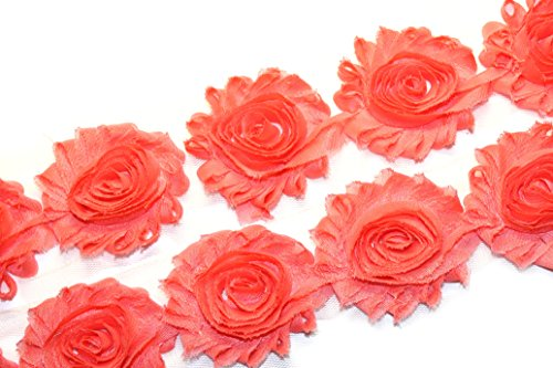 Rosette Trim - 3 Yards/42 Flowers 2.5 Inch Shabby Rose Trim Flowers Chiffon Rosettes (Coral)