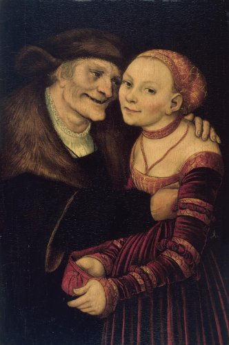 Classic Art Poster - The ill-matched couple by Lucas Cranach 'The Elder' 35.5...