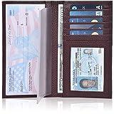 Leather Checkbook Cover Holder for Women - Standard Register Duplicate Checks RFID Card Slim Mens Wallet