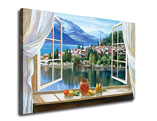Canvas Art Mediterranean Painting Canvas Prints Coastal Bay Modern Nature Picture Artwork Contemporary Landscape Painting Wall Art Decor Framed Ready to Hang for Home and Office Decoration 24