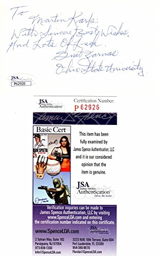 Gust Zarnas Autographed Signed Ohio State Buckeyes OSU - Green Bay Packers 3x5 inch Index Card - College Hall of Fame - Deceased 2000 - JSA Authentic from Sports Collectibles Online