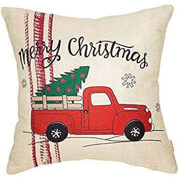 Fjfz Merry Christmas Red Vintage Truck Snowflakes Winter Holiday Decoration Farmhouse Decor Gift Cotton Linen Home Decorative Throw Pillow Case Cushion Cover for Sofa Couch, 18