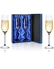 Champagne Flutes, Crystal Champagne Glasses Set of 2, AMAMIA, Modern Elegant Sparking Romantic Wine Glasses, Hand Blown - Gift for Wedding, Party, Valentines Day, Anniversary, Christmas – 220ml