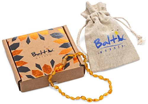 Raw Baltic Amber Teething Necklaces For Babies (Unisex) (Honey Olive) - Anti Flammatory, Drooling & Teething Pain Reduce Properties - Natural Certificated with the Highest Quality Guaranteed. by Baltic Wonder (Image #3)