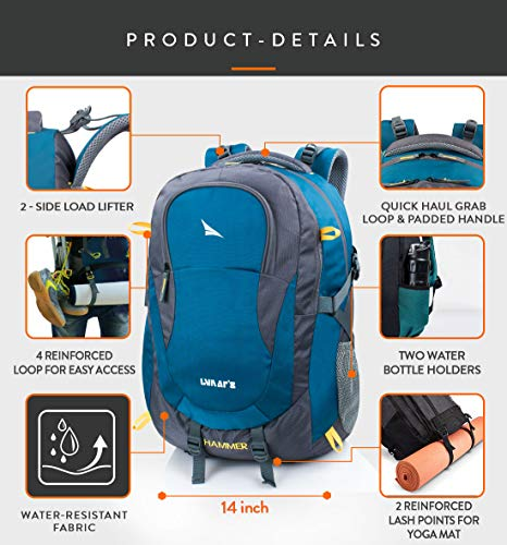 Lunar's Unisex 50L Water Resistant Office/Travel/Business Laptop Backpack, Bag for up to 17.3 inch Laptop/MacBook with rain Cover and 2 Large compartments(Blue)