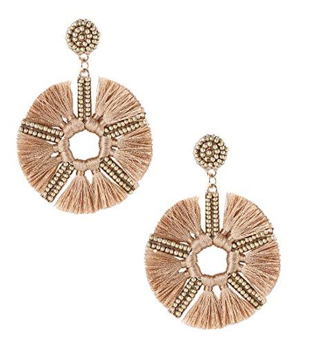 HSWE Women's Tassel Earrings Blossom Flower Beaded Fringe Earrings (khaki) (Beaded Blossom)