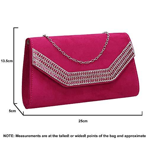 Bag Diamante Faux Womens Clutch Ladies Suede Harper SWANKYSWANS Fuchsia Rpn6Tq0W