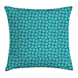 Egg Shell Foam Bedding Lunarable Snowflake Throw Pillow Cushion Cover, Flourish and Swirling Ornamental Snowflakes Xmas Festive Art, Decorative Square Accent Pillow Case, 28 X 28 Inches, Teal Dark Seafoam Pale Eggshell