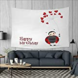Anniutwo Kids Birthday Art Wall Decor Ladybug Wings Flower Inspired Heart Shaped Celebration Balloons Tapestry Wall Tapestry W60 x L51 (inch) Red Black and White