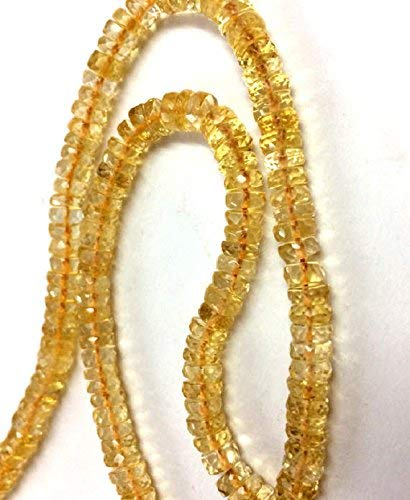Citrine Faceted heishi Cut Beads, Citrine Faceted rondelle Beads, Citrine Stone Necklace 6mm-8mm 8