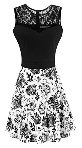 Heloise Fashion Women's A-Line Pleated Sleeveless Little Cocktail Party Dress Black Lace Peony (S, Black Top) (Lace Peony)