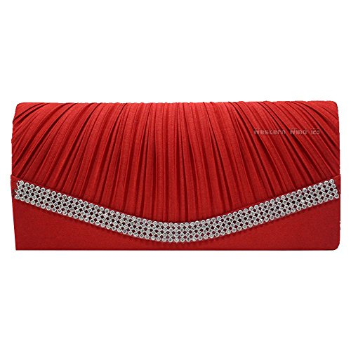 Womens Evening Wedding Pleated Crystal Wocharm Satin Prom Clutch Bag Studded Party Handbag Red Bridal gUqznZz