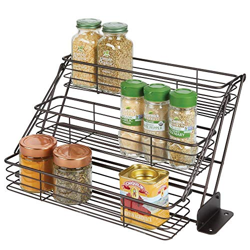 (mDesign Modern Metal 3 Tier Pull Down Spice Rack - Easy Reach Retractable Large Capacity Kitchen Storage Shelf Organizer for Cabinet and Pantry, Holder for Seasoning Jars, Bottles, Shakers - Bronze)