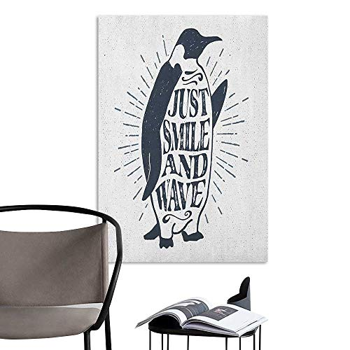 Scenery Wall Sticker Inspirational Vintage Artwork with Emperor Penguin and Just Smile and Wave Quote Print Black White Warm and Romantic W32 x H48