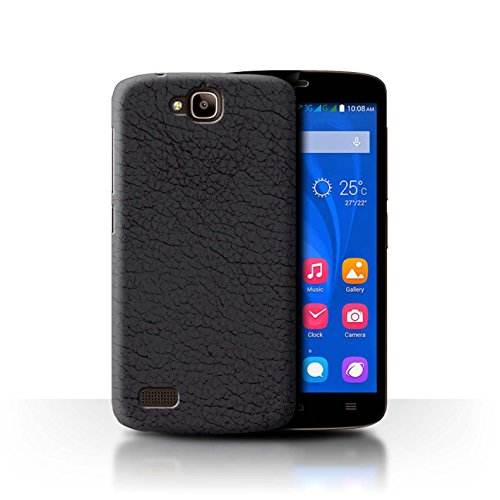 STUFF4 Phone Case / Cover for Huawei Honor Holly / Olive Black Design / Leather Patch Effect Collection ()