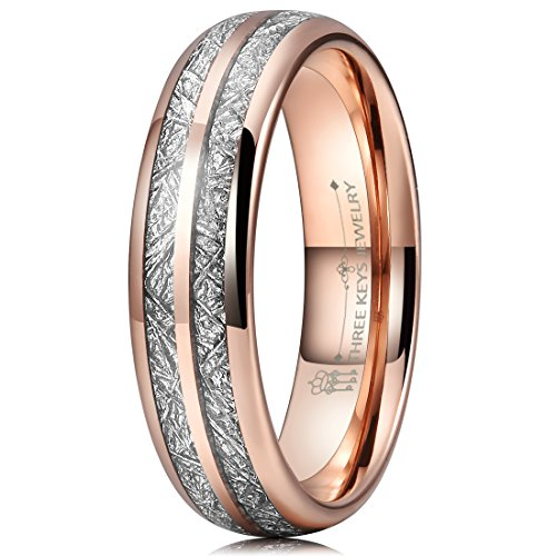 Three Keys 6mm Tungsten Wedding Ring for Women Domed Imitated Meteorite Inlay Rose Gold Mens Meteorite Wedding Band Engagement Ring Promise Ring Size 5 6mm Ladies Wedding Band