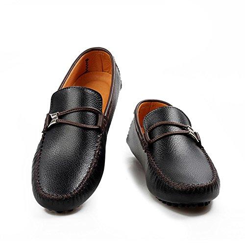 Icegrey Hombre Mocasines Zapatos Clásico de Ante del Mocasín Que conduce Los Zapatos Negro