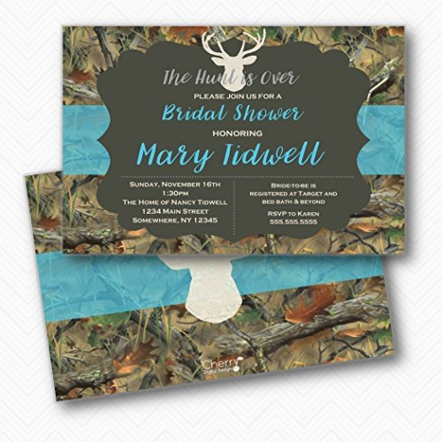 The Hunt is Over Camo & Turquoise Bridal Shower Invitations | Envelopes Included