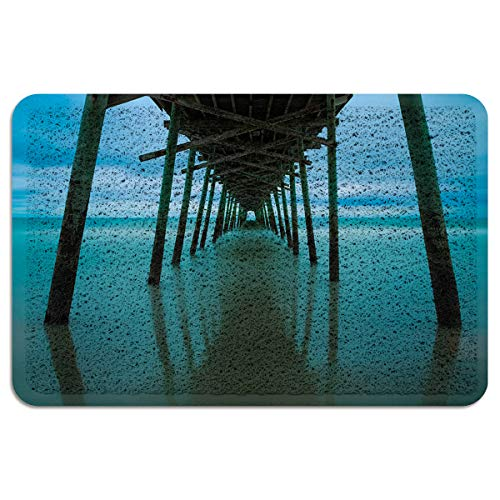 - Infinidesign Large Indoor/Outdoor Floor Entrance Machine Washable Rug Non Slip Mats,Carolina North View Coast Water Surface Natural Piling Sky 18