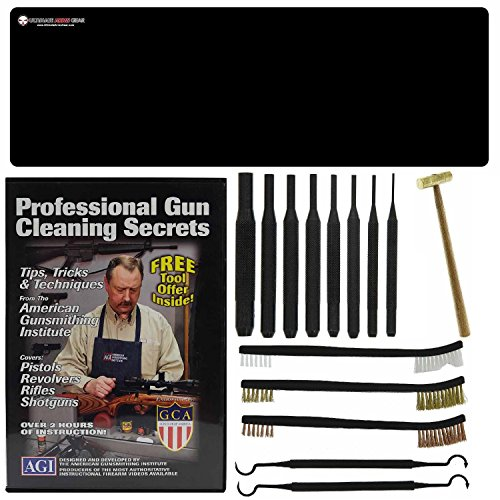 American Gunsmithing Institute DVD Professional Gun Cleaning Course Secrets Beretta SO6 EL Over/Under Shotgun Taurus P92 92 PX4 Pistol Handgun + Ultimate Arms Gear Gunsmith & Armorer's Cleaning Bench Gun Mat + 8 pc Steel Punch Center Tool Set Kit Sizes: 1/16 3/32 1/8 5/32 3/16 7/32 1/4 + 8