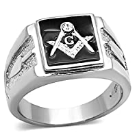 Men's Stainless Steel Tusk 316 Crystal Masonic Lodge Freemason Ring Band Size 8-13