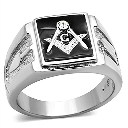 Marimor Jewelry Men's Stainless Steel 316 Crystal Masonic Lodge Freemason Ring Band Size 10