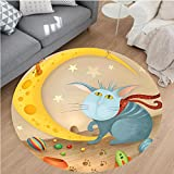 Nalahome Modern Flannel Microfiber Non-Slip Machine Washable Round Area Rug-and Mouse on Crescent Moon Shaped Cheese Cute Paws Toys Kids Children Cartoon Multicolor area rugs Home Decor-Round 75''