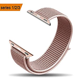 amBand Apple Watch Sport Loop Band 42mm, Lightweight Breathable Nylon Replacement Band for Apple Watch Nike+, Series 1, Series 2, Series 3, Sport, Edition-Rose Pink