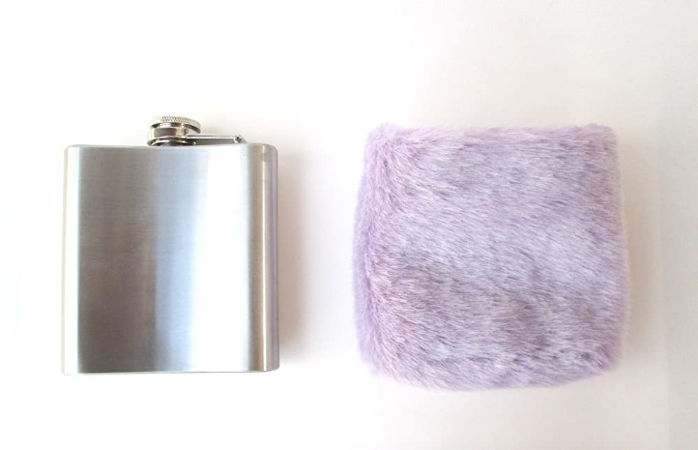 Pastel Goth Kawaii Liquor Alcohol Flask for Women Soft Grunge Cute Furry Hip Flask 21st Birthday Fluffy Baby Blue Faux Fur DDLG Gift Girly Hip Flask