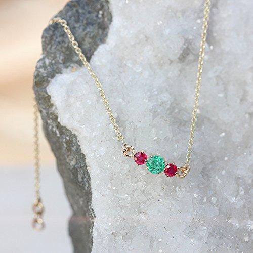 (Genuine Emerald Ruby GEMSTONE Charm BRACELET Solid 18k Yellow Gold Handmade Fine Jewelry)