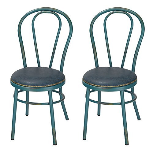 Joveco Vintage Style Round Metal Side Chair with Upholstered Faux Leather Seat, Set of 2, Teal