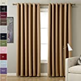 Cheap ChadMade Solid Thermal Insulated Blackout Curtains Drapes Antique Bronze Grommet/Eyelet Wheat 52W x 84L Inch (Set of 2 Panels)