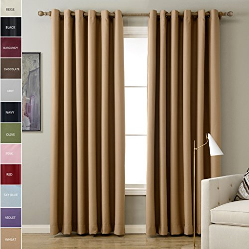 ChadMade Solid Thermal Insulated Blackout Curtains Drapes Antique Bronze Grommet/Eyelet Wheat 52W x 63L Inch (Set of 2 Panels) (Dot Polka Eclipse)