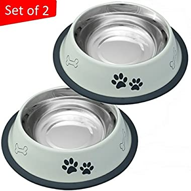 Mr. Peanut's Set of 2 White Painted Food Grade Stainless Steel Dog Bowls, Dishwasher Safe, Bacteria & Rust Resistant, with Non-Skid Rubber Base, Odor-Free Alternative to Plastic (Set of 2 - 32 oz)