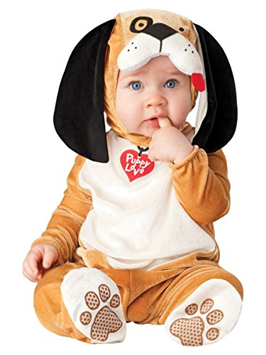 InCharacter Costumes Baby's Puppy Love Costume, Tan/White/Black, Medium (Puppy Infant)