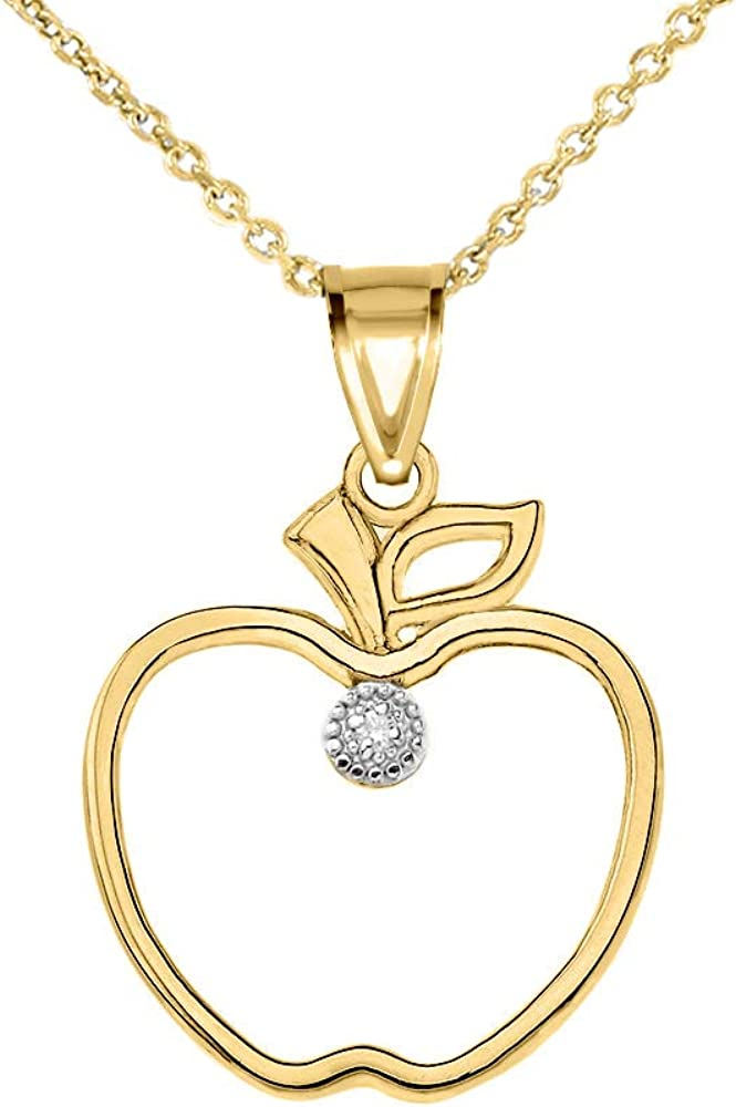 Solid 10k Yellow Gold Apple Heart Love Open Pendant Necklace