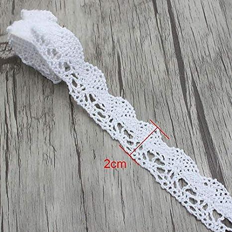 N0203 - Cinta de encaje bordada de algodón blanco de 2 yardas para ...